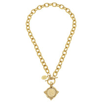Handcast Gold Intaglio Coin Front Toggle Necklace