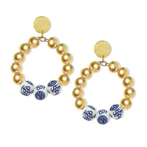 Gold Round Top & Gold Plated Ball Porcelain Dangle