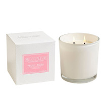 Peony Blush 2 Wick Candle in White Glass