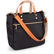 """""""Joey"""" Black Nylon Tote with Leather Accents"""