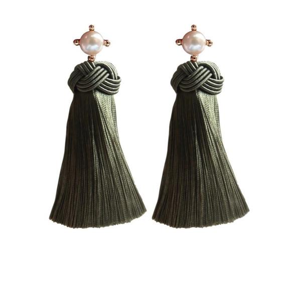 Pearl Tassels - Olive