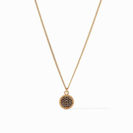 Fleur de Lis Solitaire Necklace - Pave Black