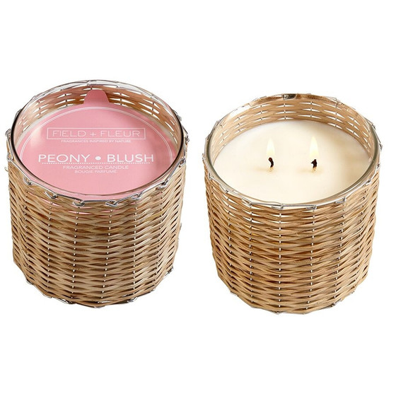 Peony Blush 2 Wick Handwoven Candle