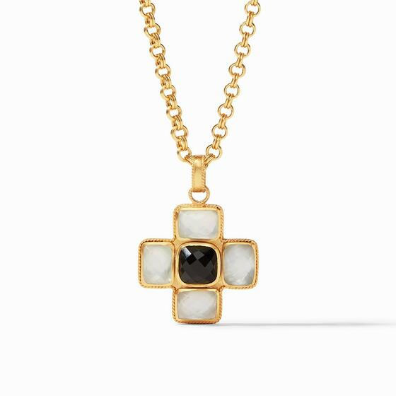 Savoy Pendant - Iridescent Clear Crystal and Black
