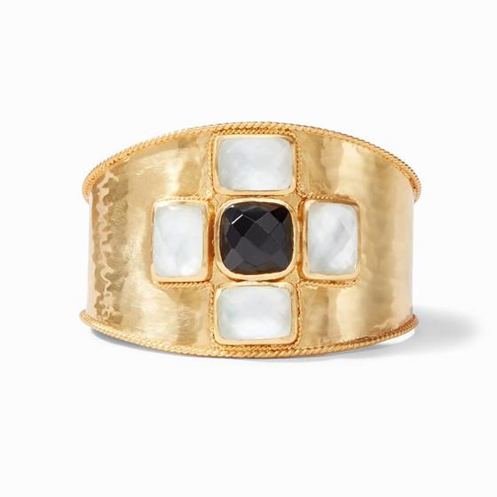 Savoy Cuff Gold Clear Crystal and Obsidian Black