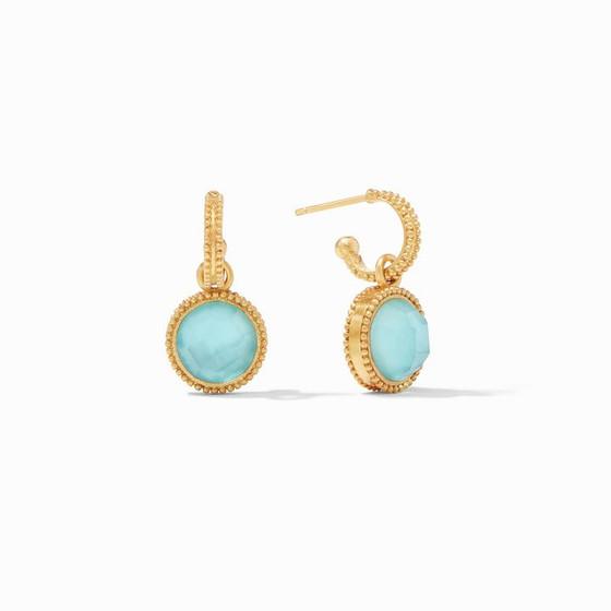 Fleur-de-Lis Hoop & Charm Earring  Bahamian Blue