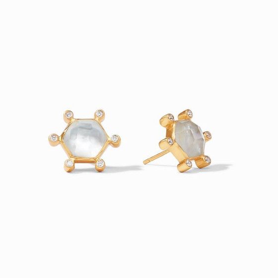 Cosmo Stud Gold Clear Crystal