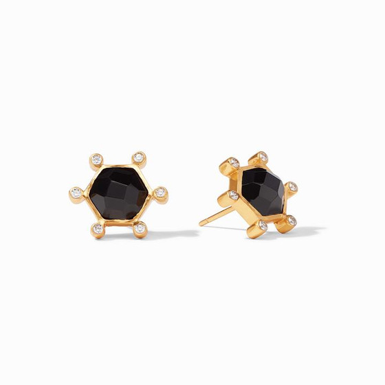 Cosmo Stud Gold Obsidian Black