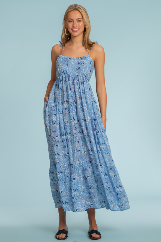 Malin Dress, Peacock Floral French Blue