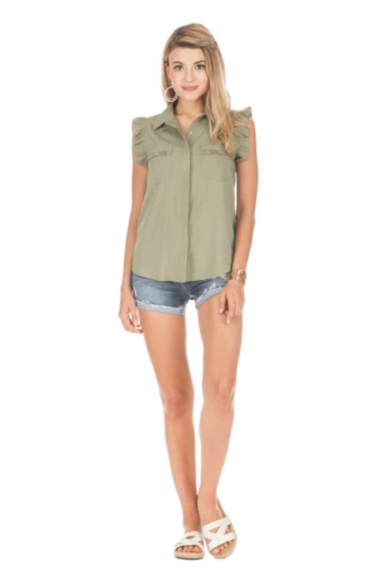 Ruffles Sleeveless Shirt, Olive