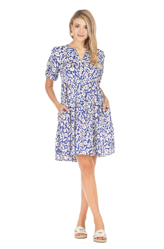 Tiered Dress, Royal Floral