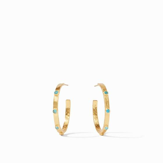 TS Crescent Stone Hoop Pacific Blue CZ Med