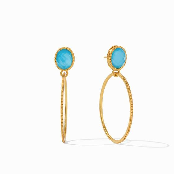 TS Verona statement Earring Gold Iridescent Pacific Blue