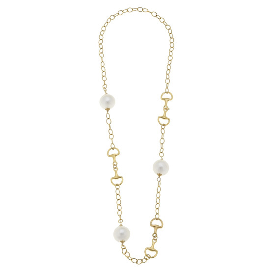 Gold Horsebit and Cotton Pearl Necklace