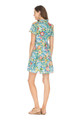 Button Tiered Dress, Teal Floral