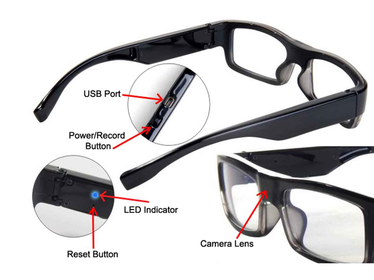 71f2177e67 Body Worn Eye Glasses Hidden Camera