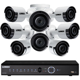 16-Ch 4K 3TB NVR w/8 5MP Color NV Security Cameras
