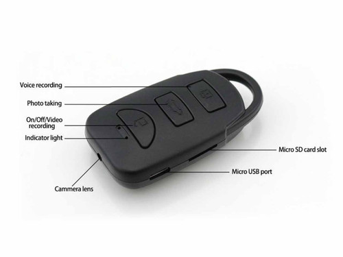 Car Key Fob Hidden Camera with 1080p Continuous Recording