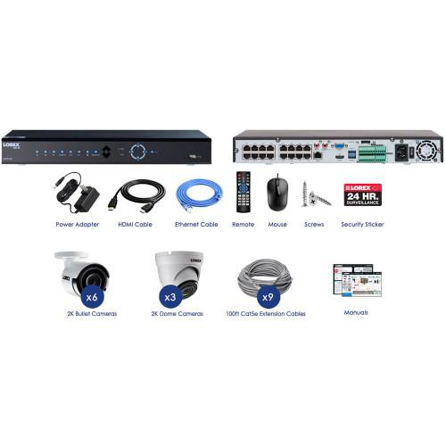 16-Channel 4K 3TB NVR with Nine 2K PoE Cameras