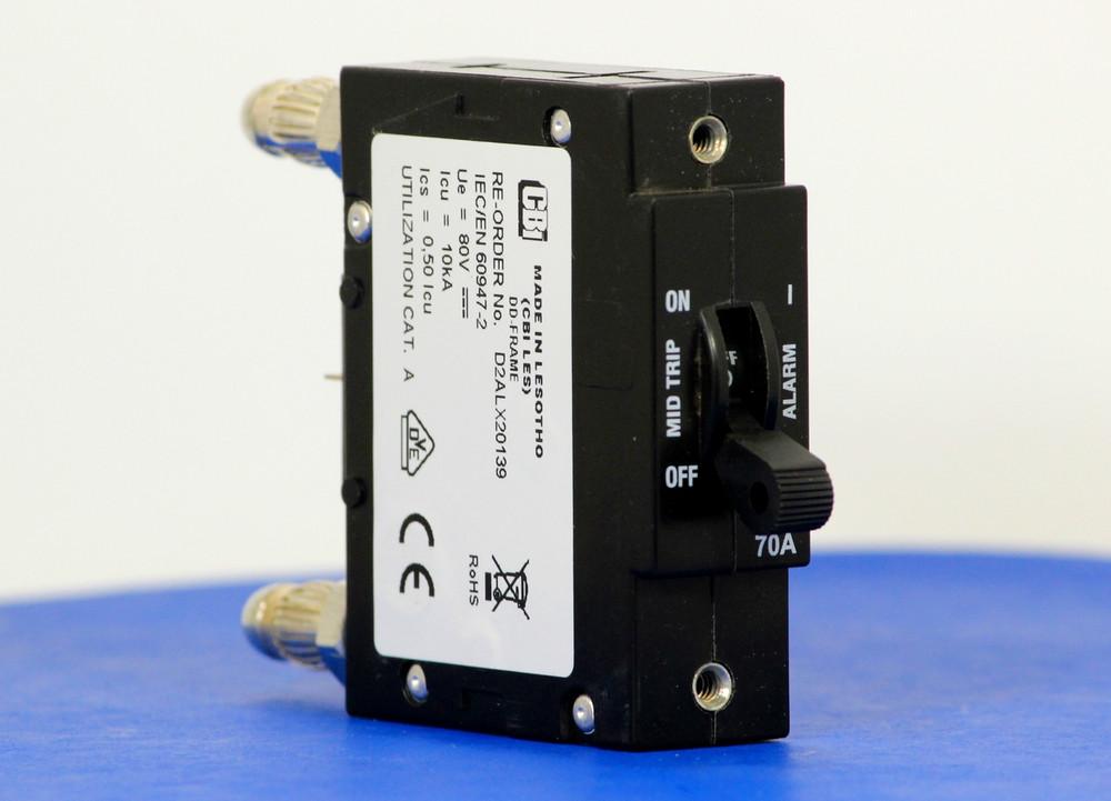 D2ALX20139 (1 Pole, 70A, 80VDC, Plug-In Terminals, Series Mid-Trip w/alarm, UL Listed (UL 489))