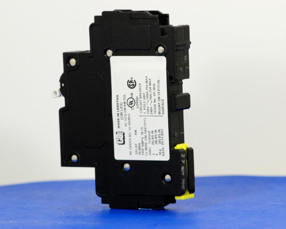 QL18KM15 (1 Pole, 15A, 120VAC; 240VAC, UL Listed (UL 489))