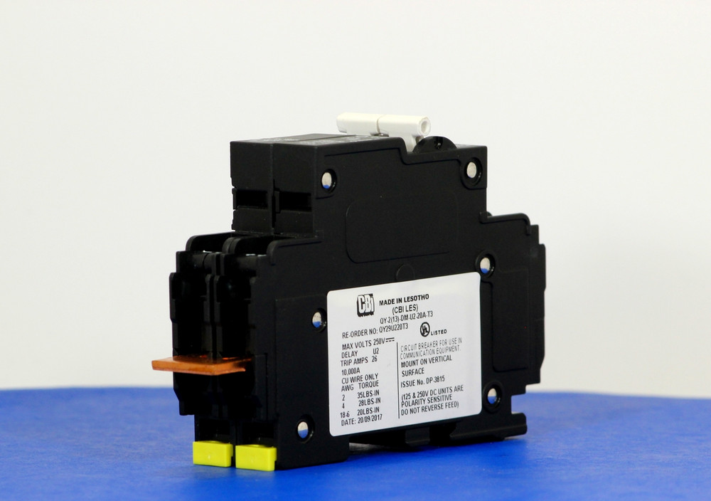 QY29U220T3 (2 Pole, 20A, 250VDC, UL Listed (UL 489))