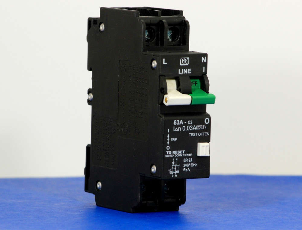 QF17A63 (1 Pole + Neutral, 63A, 240VAC, UL 1053, GFI/ Earth Leakage)