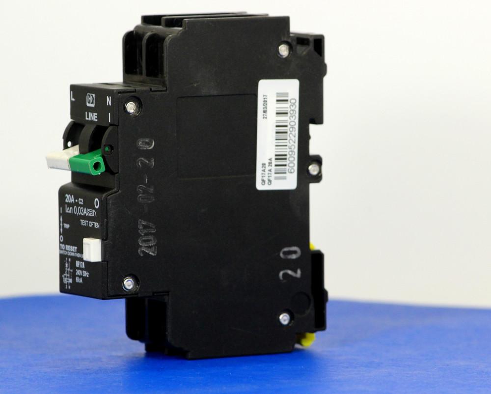 QF17A20 (1 Pole + Neutral, 20A, 240VAC, UL 1053, GFI/ Earth Leakage)