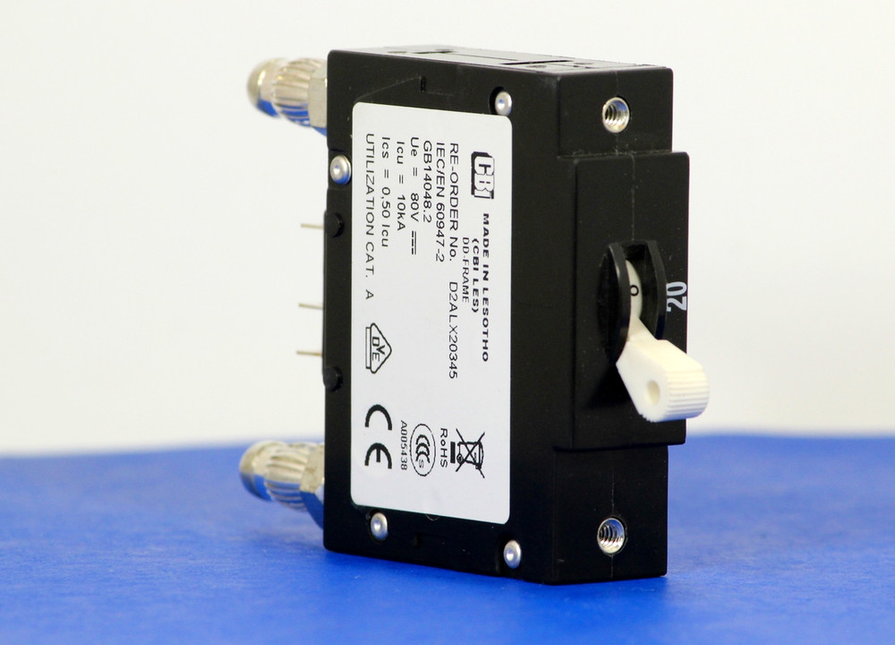 D2ALX20345 (1 Pole, 20A, 80VDC, Plug-In Terminals, Series Mid-Trip w/alarm, UL Listed (UL 489))