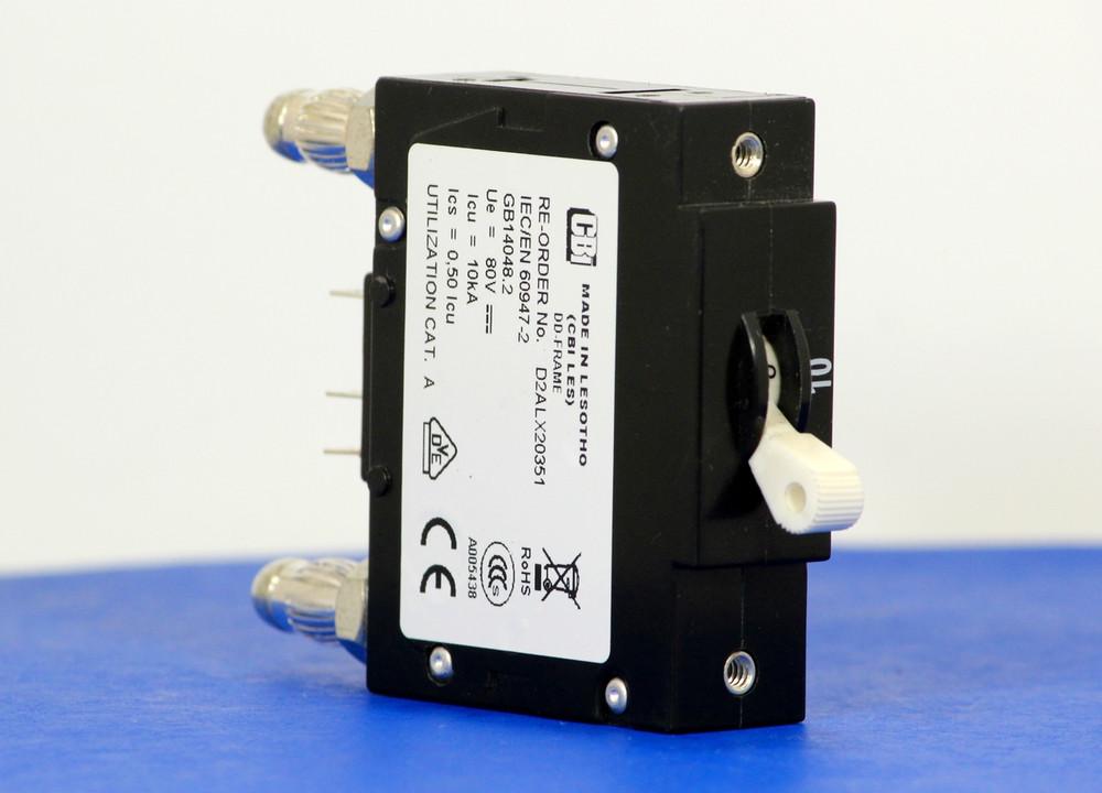 D2ALX20351 (1 Pole, 10A, 80VDC, Plug-In Terminals, Series Mid-Trip w/alarm, UL Listed (UL 489))