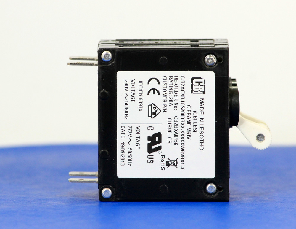 CB2BXA0156 (2 Pole, 20A, 240VAC, Quick Connect Terminal, Series Trip, UL Recognized (UL 1077))