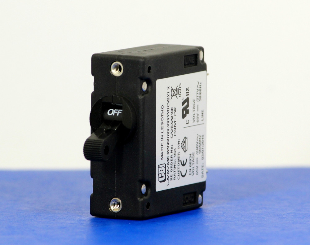 CA2BXA0100 (1 Pole, 18A, 65VDC/240VAC, Screw Terminal, Series Trip, UL Recognized (UL 1077))