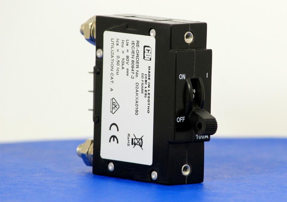 D2AKXA0160 (1 Pole, 100A, 80VDC, Stud Terminals, Series Trip w/Aux, UL Listed (UL 489))