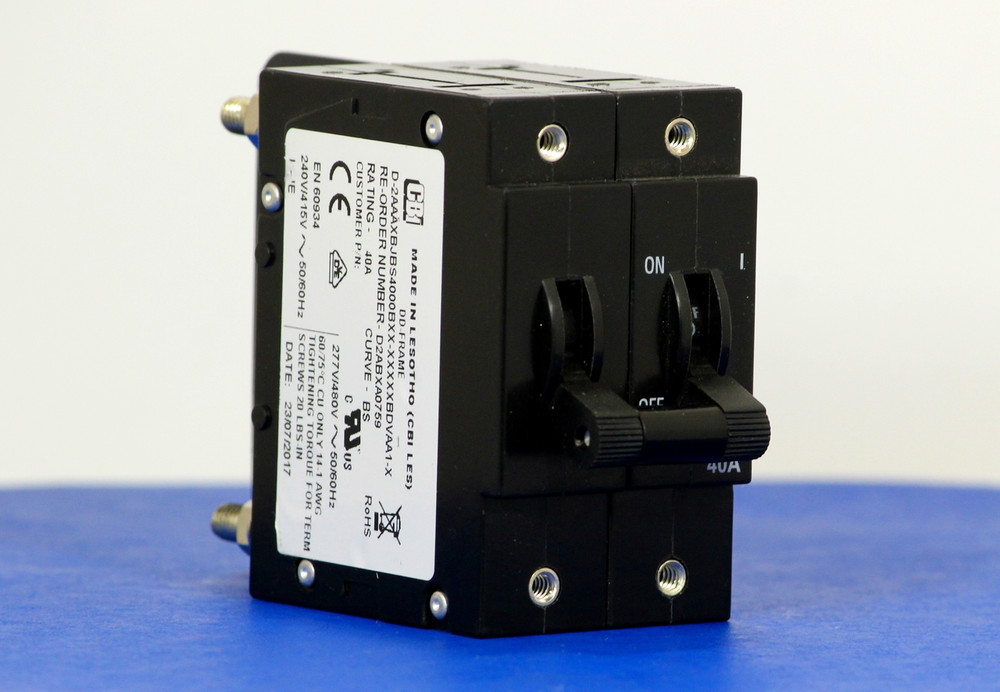 D2ABXA0759 (2 Pole, 40A, 240VAC, Stud Terminals, Series Trip, UL Recognized (UL 1077))