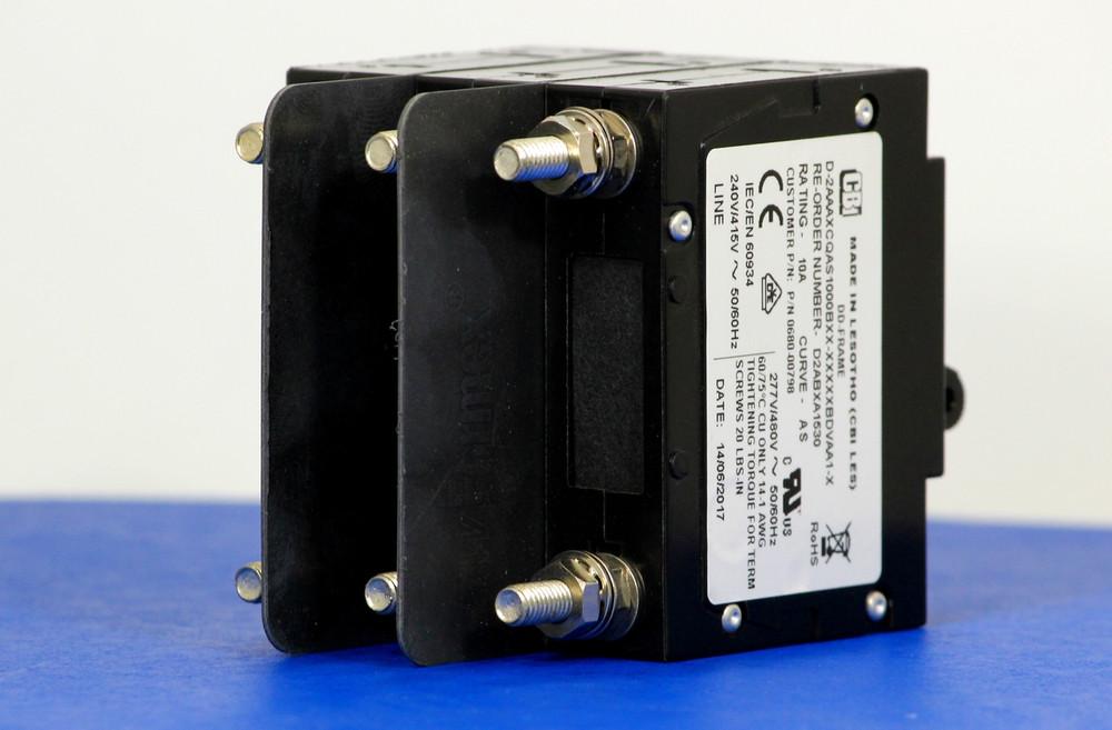 D2ABXA1530 (3 Pole, 10A, 240/415VAC, Stud Terminals, Series Trip, UL Recognized (UL 1077))