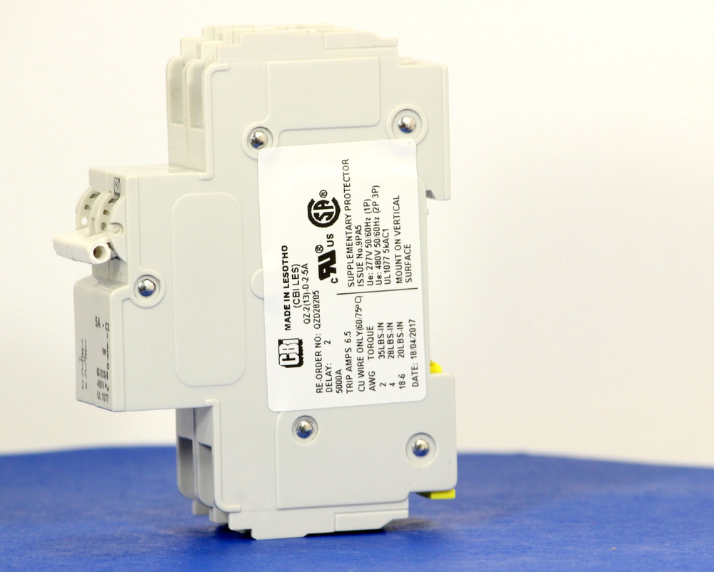 QZD28205 (2 Pole, 5A, 277/480VAC, UL Recognized (UL 1077))