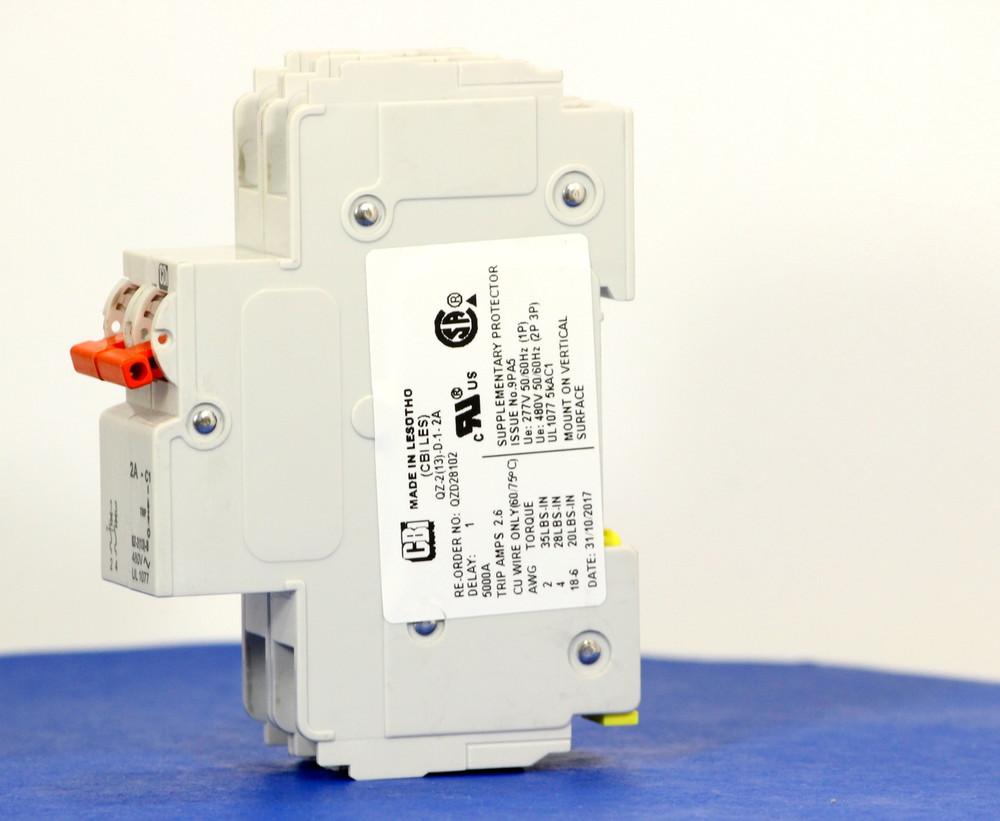 QZD28102 (2 Pole, 2A, 277/480VAC, UL Recognized (UL 1077))