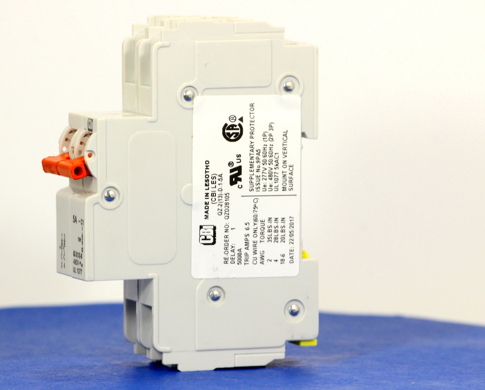 QZD28105 (2 Pole, 5A, 277/480VAC, UL Recognized (UL 1077))