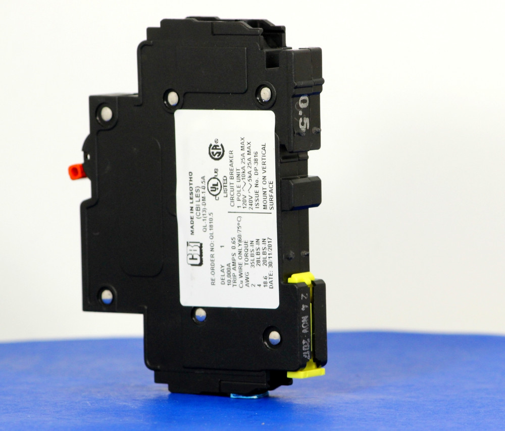 QL1810.5 (1 Pole, 0.5A, 120VAC; 240VAC, UL Listed (UL 489))