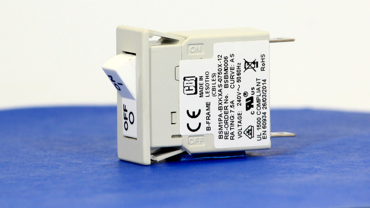BSBM0006 (1 Pole, 7.5A, 240VAC, Quick Connect, Series Trip, UL Recognized (UL 1077))