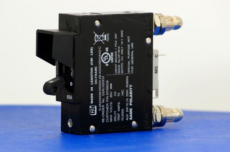 D2ALX20233 (1 Pole, 60A, 80VDC, Plug-In Terminals, Series Mid-Trip w/alarm, UL Listed (UL 489))