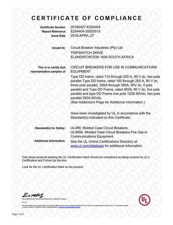 UL 489A (DD Frame) High Ratings