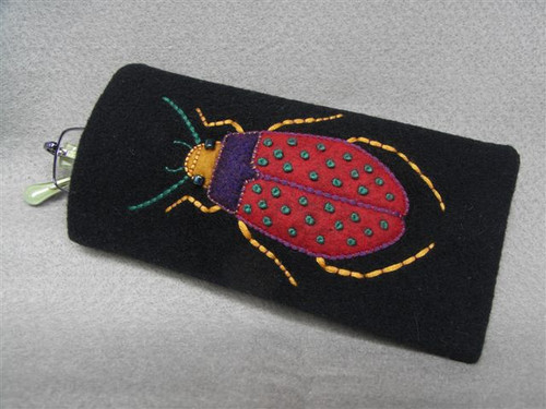 Appliqué Beetle Glasses Case