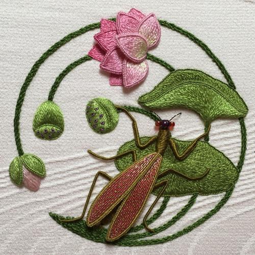 Japanese Lotus & Praying Mantis