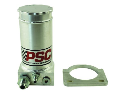 Pro Touring Brushed Aluminum Remote Reservoir Kit, #6AN Return #10AN Feed PSC Performance Steering Components - SR146-6-10-SB