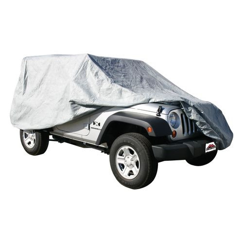 Gray 3 Layer Full Car Cover for Jeep JK Wrangler 2DR; Water Resistant - FC10209