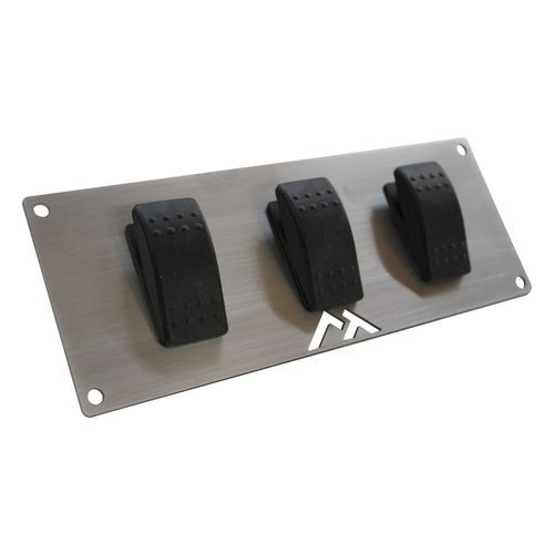 Stainless Steel Switch Plate w/ 3 Rocker Switches for Universal Applications - RT29006