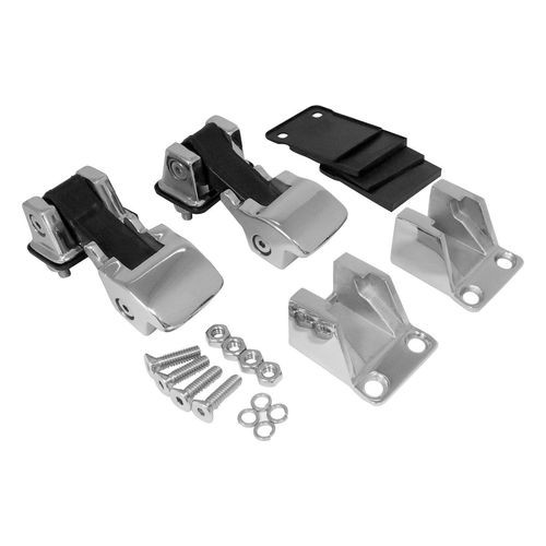 TJ Style Polished Stainless Steel Hood Catch Kit for Jeep 55-86 CJs and 87-95 YJ - RT34083