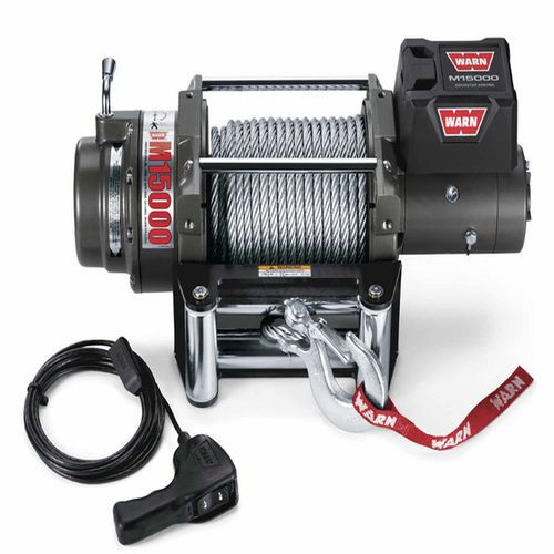 12 Volt 15000 LB Cap 90 Ft Wire Rope Roller Fairlead Wired Remote - 47801