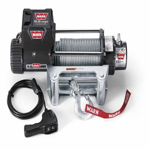 Winch 12 Volt 9500 LB Cap 100 Ft Wire Rope Roller Fairlead Wired Remote - 68500